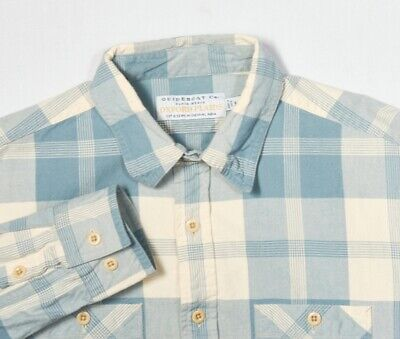 Mens GUIDEBOAT Shirt M in Colonial Blue Ivory Plaid Cotton Oxford Cloth (Colonial Clothing Men)