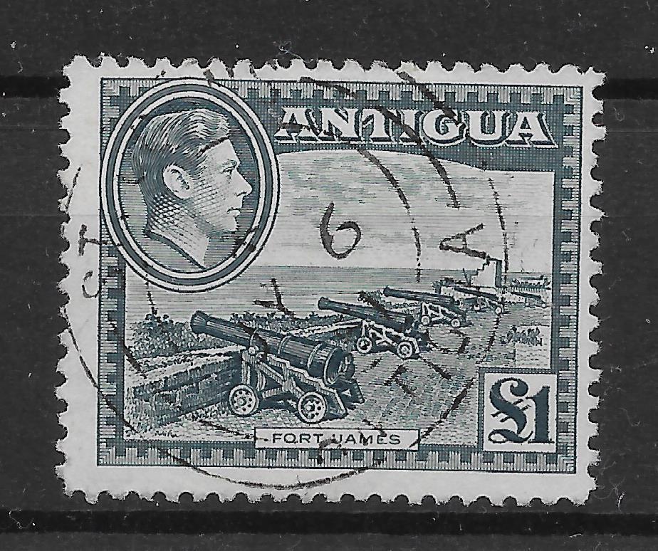 ANTIGUA SG109 1948 £1 SLATE-GREEN USED