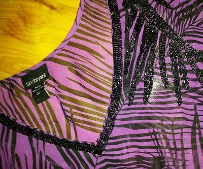 Womens Beaded Ruffle Shirt (Womens Lane Bryant 18 / 20 blouse shirt sheer ruffle sleeves beaded purple zebra)