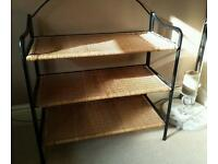 Whicker and metal framed 3 tier shelf unit.