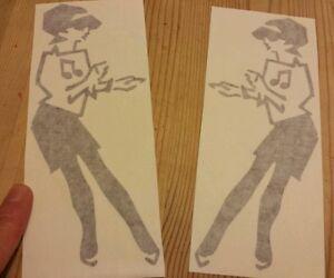 Ska girl Two Tone Stickers X2 Black or white Mod Skins Ska style