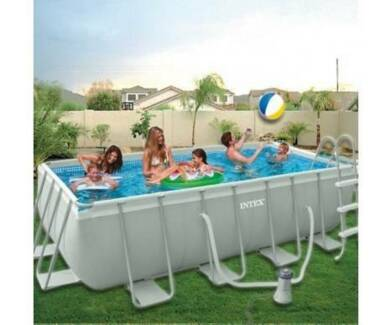 Intex Ultra Rectangular Ground Swimming Frame Pool + Pump +ladder Hoppers Crossing Wyndham Area Preview