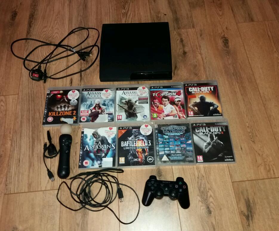Ps3 120gb slim bundlein Seacroft, West YorkshireGumtree - Ps3 120gb slim. With power lead, hdmi, and 1 controller. Ps3 move controller. Wireless headset. 3m metre controller charger. Plus headset charger. 10 games. Gta 5 is on the hard drive aswell as all map packs for black ops 2. Buyer can have the...