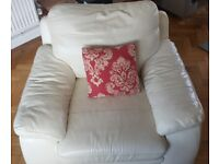 Cream real leather arm chair / armchair club chair very good condition. Woking
