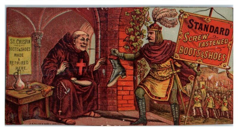 Crusader & Monk Standard Screw Fastened Boots & Shoes Victorian Trade Card *VT15