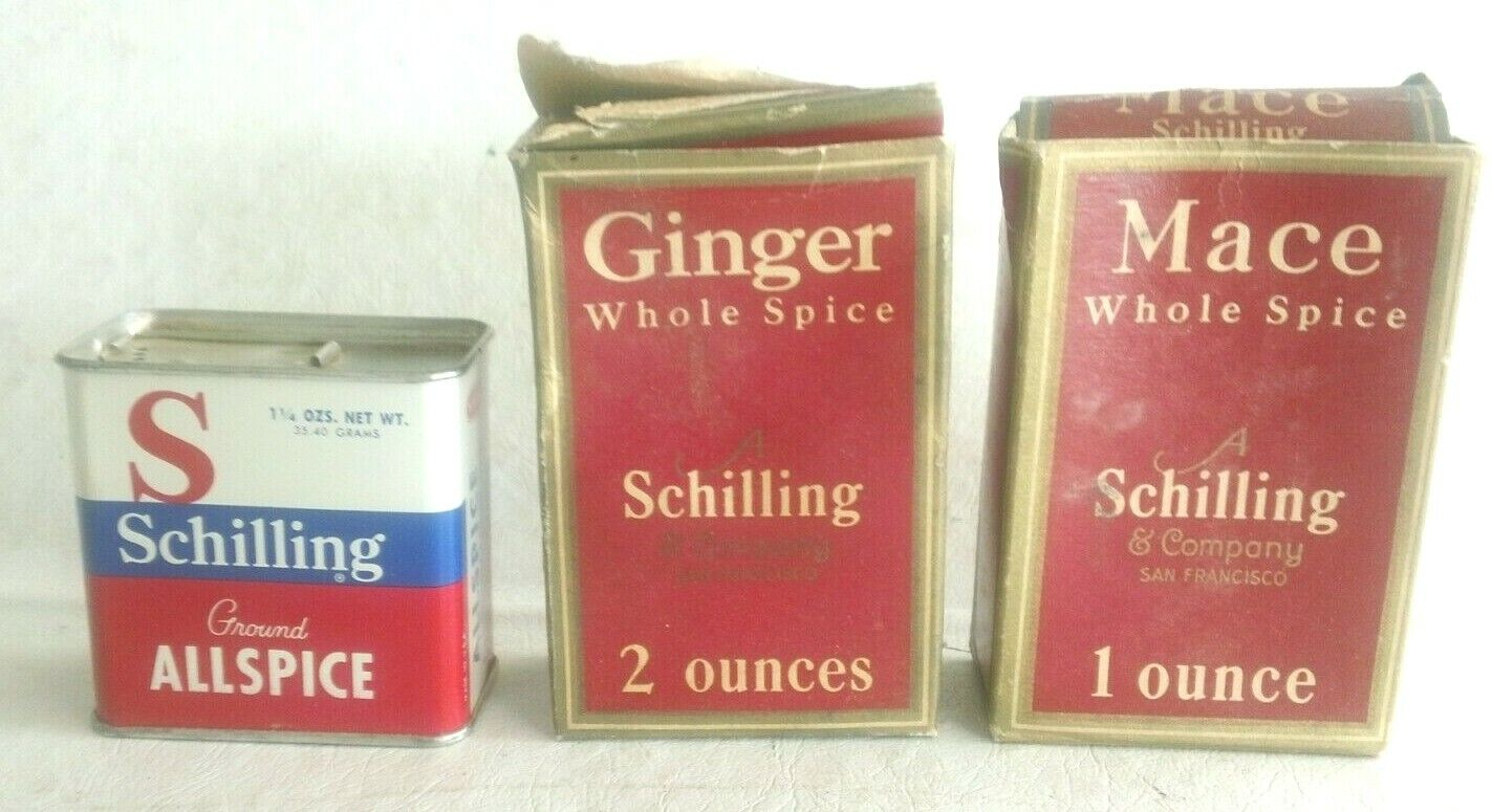 Vintage Schilling Spice Boxes Tin Allspice, Ginger Mace - $4.95