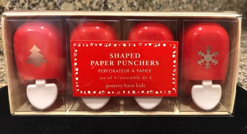 Pottery Barn Kids Shaped Paper Punchers Christmas Crafts NEW