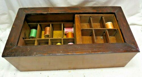 Vintage Wood Wooden Sliding Tray Thread Sewing Box FAST SHIPPING!