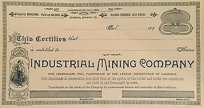 Industrial Mining Company > Jackson Amador County California stock certificate