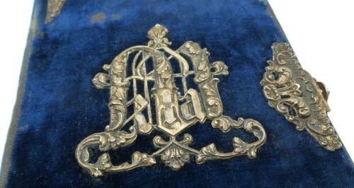 Antique 1900s Austrian Prayer Book /w Sterling Silver Ornaments on Blue Velvet