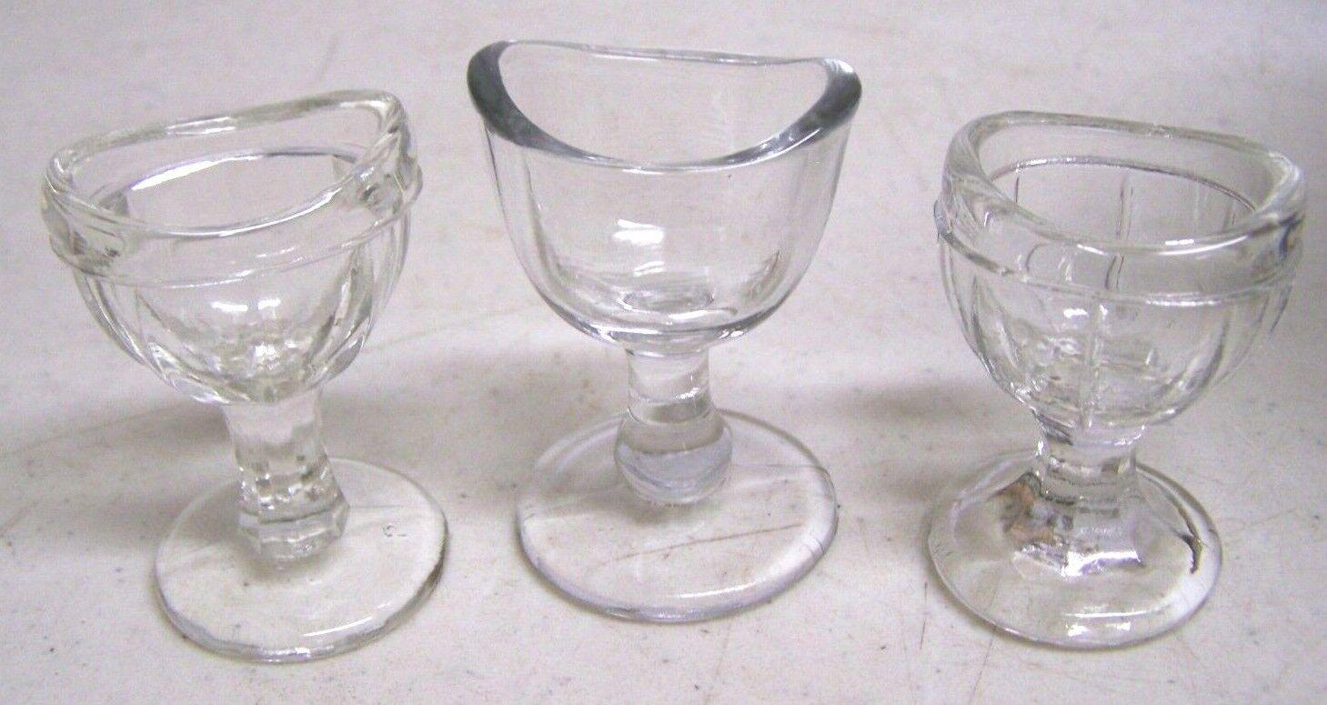 3 Antique Vintage Clear Paneled Glass Eye Wash Cup 8 Sides Footed Pedestal - $9.99