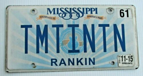 "MISSISSIPPI VANITY LICENSE PLATE "" TMTINTN "" TIM TIN TIN  MS"