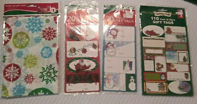 🎄 NIP- 4 Piece Misc Christmas Items- Gift Tag Stickers & Large Toy Gift Sack 🎄 - Gift Tag Stickers