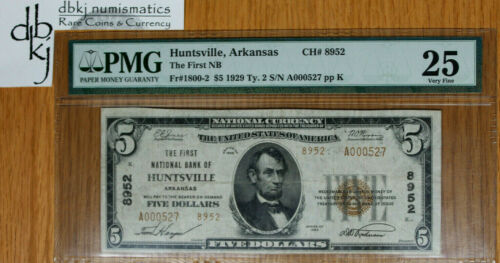 Huntsville, Arkansas - $10 1929 Ty. 2 The First NB Ch# 8952 - PMG VF25