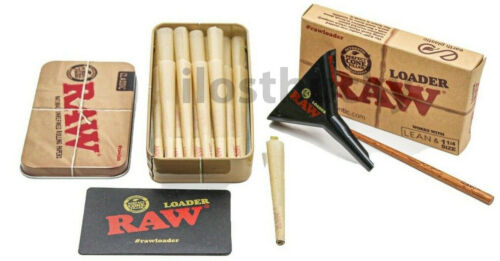 RAW  1 /1 4 NATURAL CONES 25 COUNT +LOADER+Storage TIN