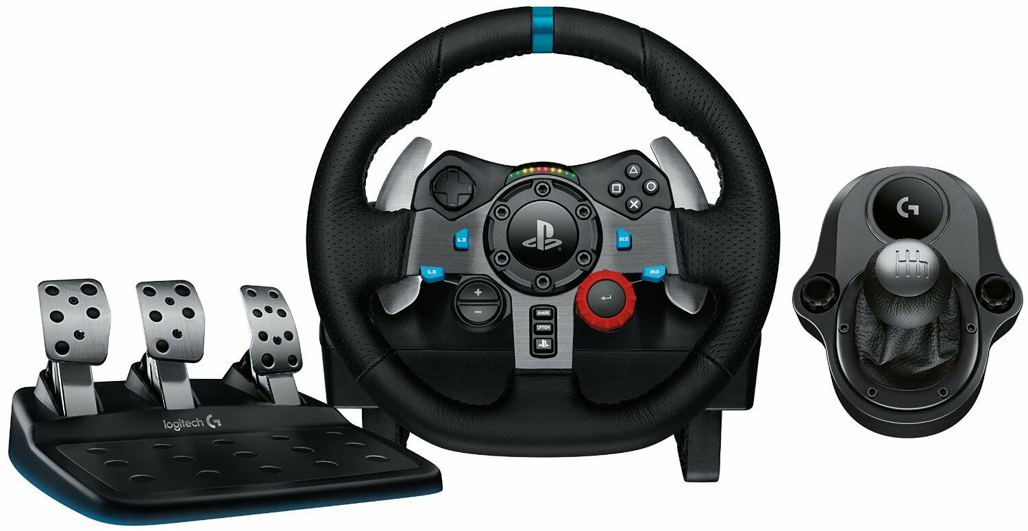 gaming racing wheel plus 6 speed shifter pedals driving. Black Bedroom Furniture Sets. Home Design Ideas