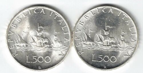 2 X ITALY 500 LIRE COLUMBUS SHIPS .835 SILVER COINS 1966R 1967R ASW .2953oz PER