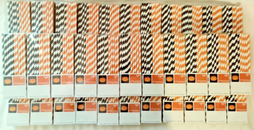 HALLOWEEN PAPER STRAWS 33 PACKS WITH 50 IN EACH RETAIL PACK FREE FAST SHIPPING