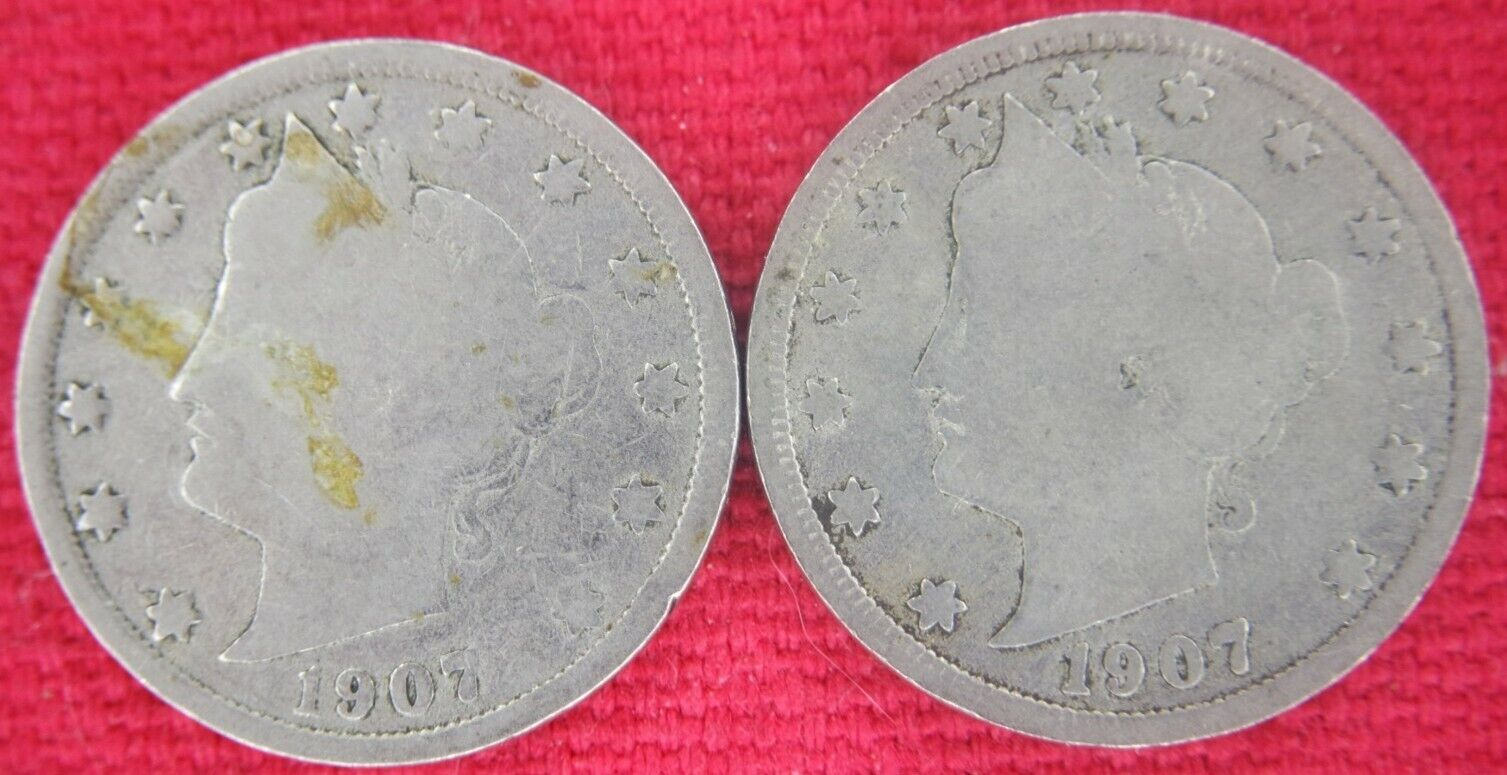 1907 Liberty V Nickel With Cents Lot Of 2.  - $1.99