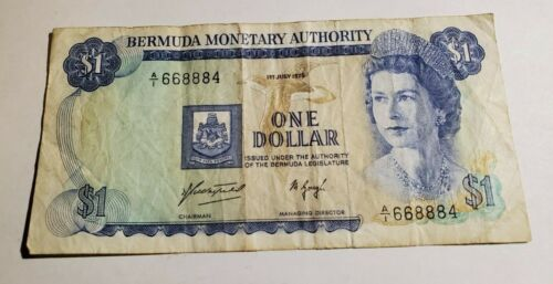 Bermuda $1 Dollar Currency Banknote July 1975