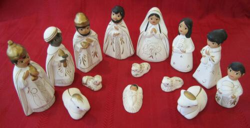 14pc Hand Painted Folk Art Nativity Scene Manger Set Pottery Figures Christmas