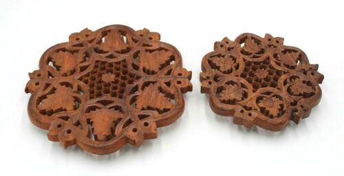 Wood Trivets Set of 2 Hand Carved India Vintage Collectible Home Decor Kitchen