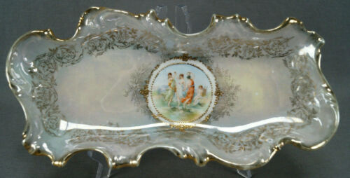 ES Prussia Royal Vienna Style Classical Scene Green Luster & Gold Celery Dish