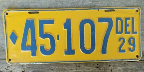 Restored 1929 Delaware License Plate 45-107, Price Reduced