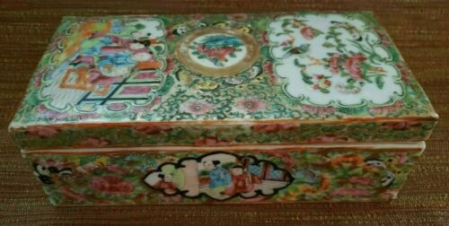 Chinese Export Rose Medallion Brush Box - People, Birds, and Butterflies