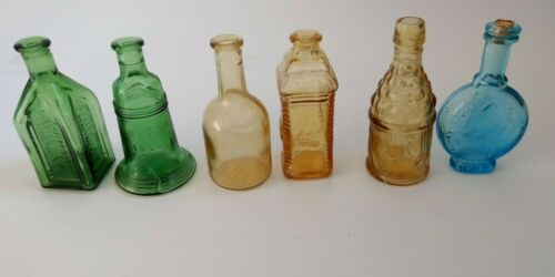 6 VTG Mini Glass Bottles Blue Green Brown - Liberty Bell, Electric Tonic, Taiwan