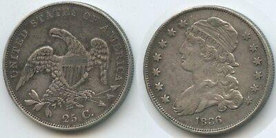 G16107 - USA Half Dollar 25 Cents 1836 KM#55 XF RAR Liberty Cap Quarter Dollar (55 Dollar)