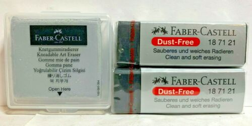Lot of 3 Faber Castell Large Kneaded Erasers & Dust Free