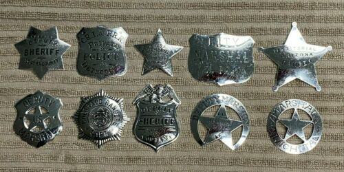 Set of 10 Sterling Silver Franklin Mint Great Western Law Men Replica Badges
