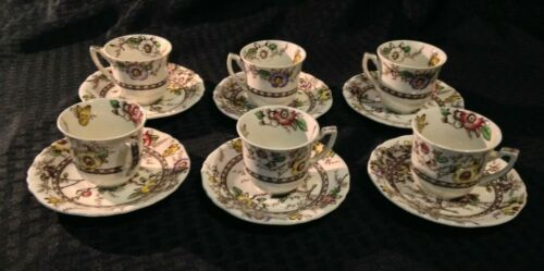 Set of 6 Vintage Alfred Meakin MEDWAY Decor Dinnerware Floral CUP & SAUCERS