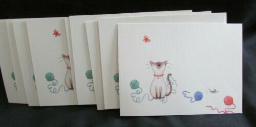 Vintage Hallmark 10 Blank Notecards w Envelopes no Box  Smiling Siamese Cat Yarn