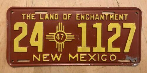 "1947 NEW MEXICO AUTO PASS LICENSE PLATE "" 24 1127 "" NM 47 ALL ORIGINAL CONDITION"