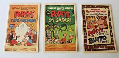 Popeye Instant Quaker Oats Cartoon Comic Booklets - 3 Time Machine Safari Bluto