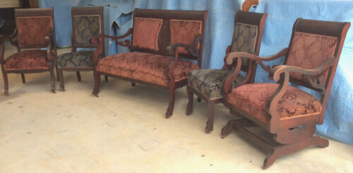 Living Room Suite: Vintage 1940s; 5 pc; Mahogany; Original Fabric and Casters