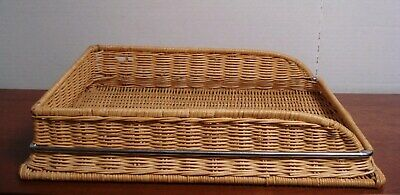 Vtg Wicker Desk Paper Legal Letter Tray Organizer Box Office File Bin Office
