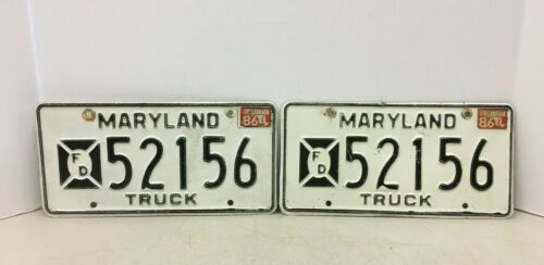 Vintage Maryland MD Fire Department FD License Plate Plates