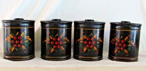Vintage Antique Hand Painted Tole Toleware Canisters Set of 4