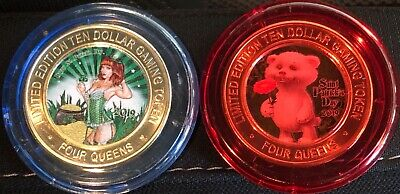 2019 St. Patrick's Day Four Queens Red & Blue cap set Silver Strike Tokens
