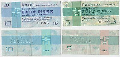 2 DDR Banknoten 5 und 10 Mark Forum Scheck 1979 (110826)