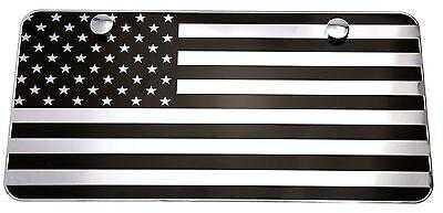 "USA American Black & Chrome Flag Embossed Metal License Plate 2 Hole (12""x6"",..."