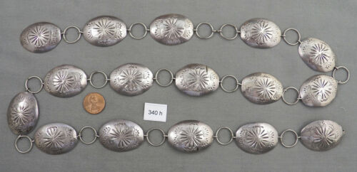 Vintage Hand Stamped Silver Navajo Concho Belt, Link Style, Long!