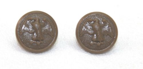 WWII US WAC Walking Eagle Brown hat button 5/8in 16mm 24L Pair  B1933