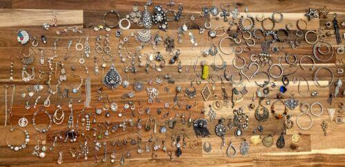 340+ Single Earrings Bling Rhinestone Crystal Lot Repurpose Craft Junk Harvest