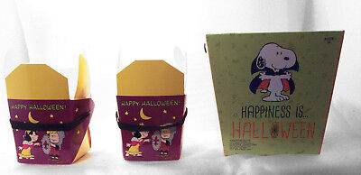 Halloween Treat Gift Baskets (Peanuts Halloween Trick or Treat Basket plus 2 Gift Boxes Snoopy Lucy Linus)
