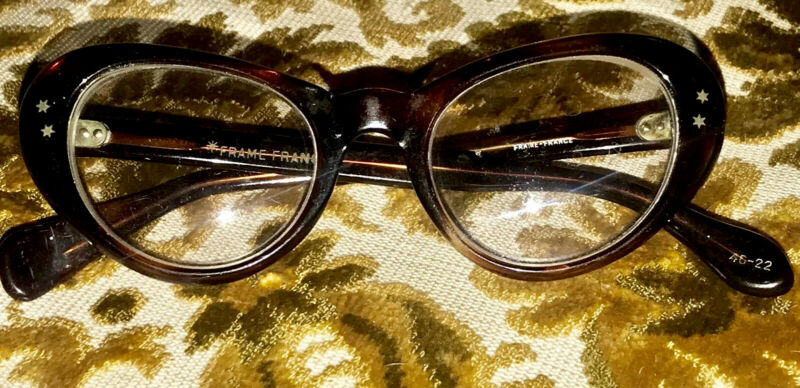 VINTAGE L&S CAT EYE FRAME FRANCE EYEGLASS FRAMES ONLY WITH STARS