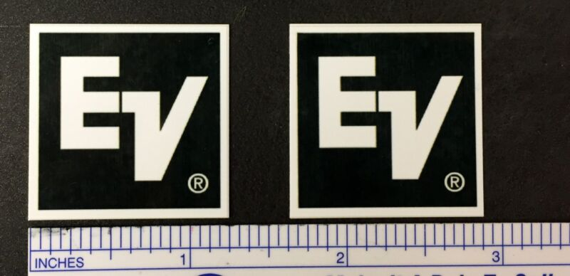 EV Electro-Voice ElectroVoice Speaker Badge Logo Emblem Square Aluminum Pair